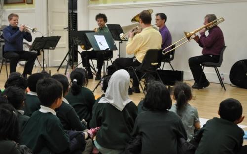 Children_watching_brass_quintet