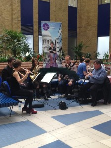 On 24th April, we performed a lunchtime concert at Guy's and Thomas'  Hospital, part of our Meet the Music wellbeing outreach programme.