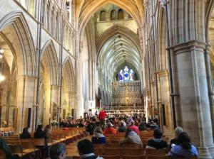 The finale of the festival took place in Southwark Cathedral, featuring Poulenc's Organ Concerto, performed by Peter Wright. Here Stephen Layton leads a rehearsal in front of a few early bird audience members.