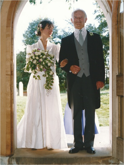 Katie Heller and her father, Peter, on her wedding day, 1997.