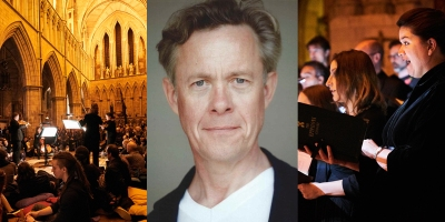 Alex Jennings and City of London Sinfonia musicians at Southwark Cathedral